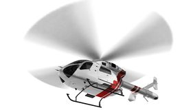 White civilian helicopter in flight isolated on white background Royalty Free Stock Photo