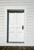 White Clapboard Church Door Stock Photo