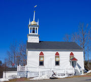 White clapboard New England church in winter Stock Photography
