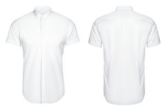 White classic and business shirt, short sleeved shirt, white background Royalty Free Stock Image