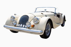 White classic car. Beautiful looking luxury classic car isolated Royalty Free Stock Images