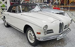 White Classic Car Beside White Silver Classic Car Royalty Free Stock Image