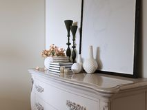 White classic chest of drawers with decor and picture. 3d rendering stock illustration