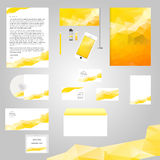 White classic corporate identity template design. With yellow geometry triangle shapes. Business stationery. Graphic professional identity for your company Royalty Free Stock Photography