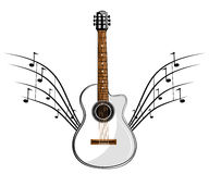 White classic guitar Royalty Free Stock Image