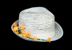 White classic hat with flowers Stock Image