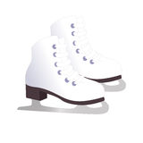 White classic ice figure skates. Sport equipment. Vector Illustration isolated on white background. Stock Images