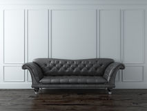 White Classic interior with black sofa Stock Photo
