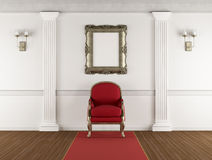 White classic interior with red armchair Royalty Free Stock Image