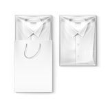 White classic men shirt in packaging box and shopping bag Stock Photos