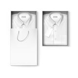 White classic men shirt in packaging box and shopping bag Stock Photography