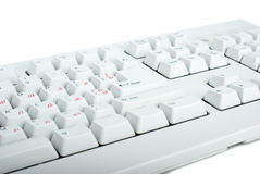 White classic PC keyboard fragment Stock Photos