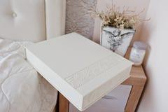 White classic photo album or photobook with decor design Royalty Free Stock Images