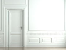 White classic wall with door Royalty Free Stock Photos