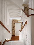 White Classic Wooden Staircase Interior Design Royalty Free Stock Image