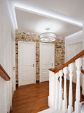 White Classic Wooden Staircase Interior Design. In Big House with Stone Walls and White Doors. 3d rendering Stock Photos