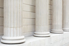 White classical columns and wall background Stock Photo