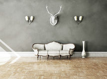 White classical style sofa in vintage room Royalty Free Stock Photo