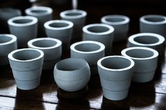 White clay ceramic planting pots Royalty Free Stock Photography