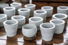 White clay ceramic planting pots Stock Images