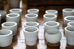 White clay ceramic planting pots Stock Photos
