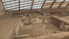 White clay inside a catalhoyuk house. Çatal Höyük was a very large Neolithic and Chalcolithic proto-city settlement in southern Anatolia, which existed stock footage