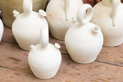 White clay jugs Royalty Free Stock Image