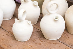White clay jugs Royalty Free Stock Photography
