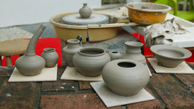 White clay pottery Stock Photo