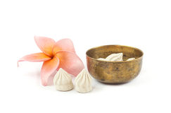 White clay. Soft prepared chalk for Songkran festival on white background Stock Images