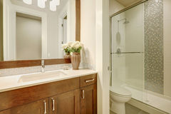 White and clean bathroom design in brand-new home stock photos