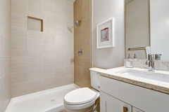 White and clean bathroom interior design royalty free stock photography
