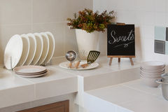 White clean counter in kitchen with utensil Royalty Free Stock Image