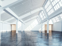 White clean industrial interior. 3d rendering royalty free illustration