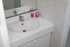 White clean minimal sink in a bathroom Stock Images