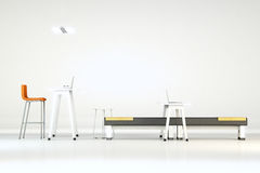 White clean office with furniture. White clean 3d office interior or white studio with modern furniture Stock Image
