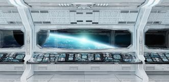White clean spaceship interior with view on planet Earth 3D rend. Ering elements of this image furnished by NASA Stock Image