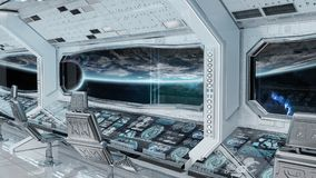 White clean spaceship interior with view on planet Earth 3D rend. Ering Stock Image