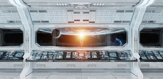 White clean spaceship interior with view on planet Earth 3D rend. Ering elements of this image furnished by NASA Royalty Free Stock Photo
