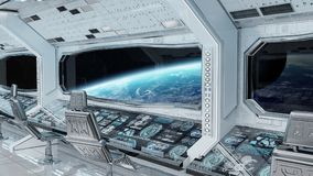 White clean spaceship interior with view on planet Earth 3D rend. Ering elements of this image furnished by NASA Royalty Free Stock Photography