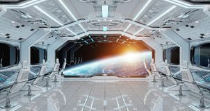 White clean spaceship interior with view on planet Earth 3D rend. Ering elements of this image furnished by NASA Stock Photos