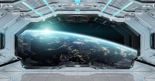 White clean spaceship interior with view on planet Earth 3D rend. Ering elements of this image furnished by NASA Royalty Free Stock Images