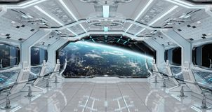 White clean spaceship interior with view on planet Earth 3D rend. Ering elements of this image furnished by NASA Royalty Free Stock Image