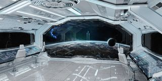 White clean spaceship interior with view on planet Earth 3D rend. Ering elements of this image furnished by NASA Stock Photo