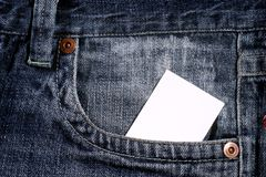 White clear card in pocket Stock Image
