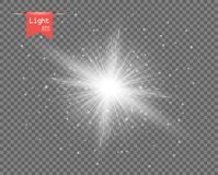 The white clear light of the sun. Bright explosion, sparkling flash with rays. Glitter of Stardust. Vector design element isolated on a transparent background stock illustration