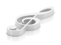 White clef. 3d visualization of isolated white musical clef vector illustration