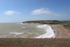 White Cliff Beach2. Seven Sisters white beach on a sunny day Stock Photos