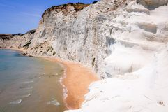 White Cliff and Blue Water at Scala dei Turchi. In Sicily Royalty Free Stock Images