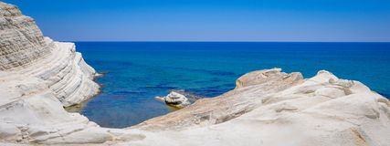 White Cliff and Blue Water at Scala dei Turchi. In Sicily Stock Image